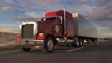 18 wheel Truck op de weg — Stockvideo