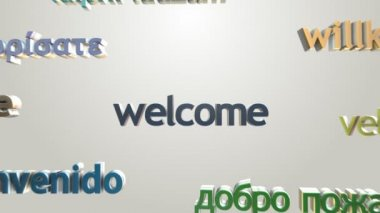 Welcome and many languages greetings — Stock Video