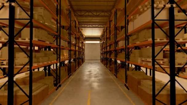 Almacén 3d interiores — Vídeo de stock
