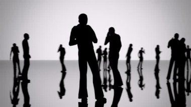 Silhouettes of a crowd of people — Stock Video
