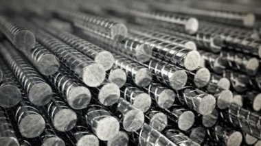 Steel rods completely stacked in a heap — Stock Video