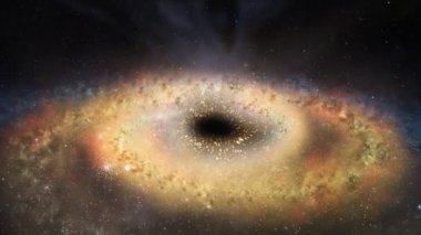 Black hole in the middle of the outer space — Stock Video