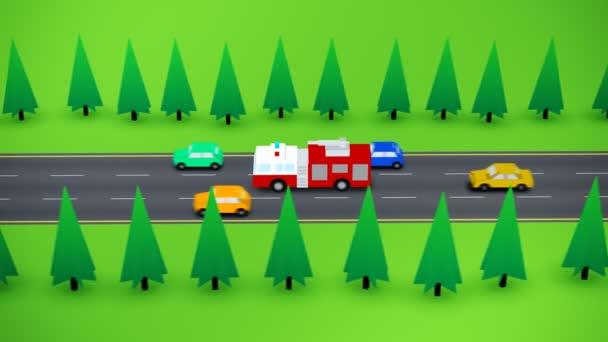 Camión de bomberos en carretera muy transitada — Vídeo de stock