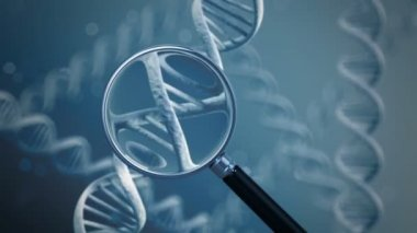 Magnifying glass showing DNA strands — Stock Video