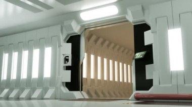 Futuristic Spaceship Door Opening — Stock Video