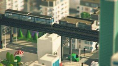 Paesaggio urbano con grattacieli e trasporto — Video Stock