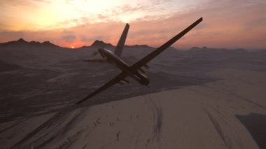 Military Predator Drone Flying During Sunset — Stock Video