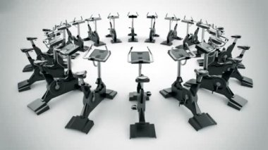 Gym equipment stationary bikes — Stock Video