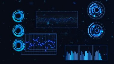 Futuristic Graphic User Interface Fluctuating Graph Ratio — Stock Video