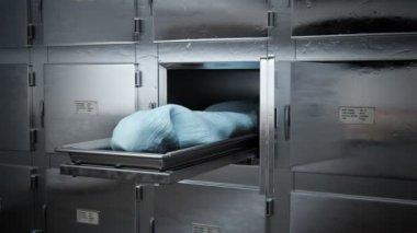 Dead Body Covered In Morgue — Stock Video
