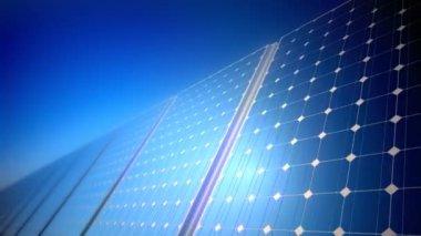 Sunny solar blue shiny panel — Stock Video