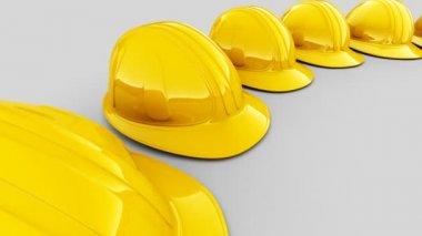 Cascos de seguridad amarillo — Vídeo de Stock