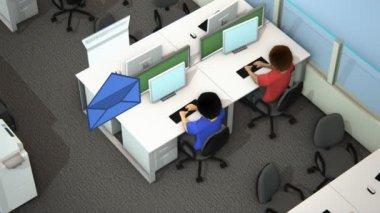 Zajęty pracowników w biurze — Wideo stockowe