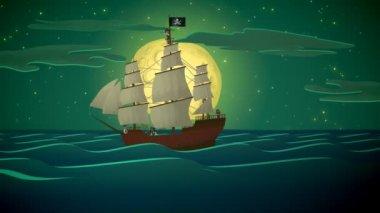 Piracki statek w morze — Wideo stockowe