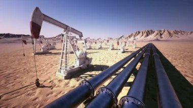 Oil pump jack rocking with pipeline — Stock Video
