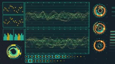 Futuristické grafické uživatelské rozhraní kolísá graf poměr — Stock video