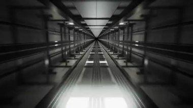 Wewnątrz szybu z ruchomymi winda — Wideo stockowe