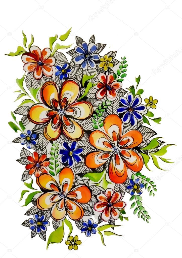 graphique de belle couleur dessin fleurs photographie volandemorius 53723463. Black Bedroom Furniture Sets. Home Design Ideas