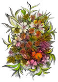 Wild flowers of different sizes — Stock Photo
