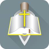 Opened Bible with a yellow cross — Stock Vector