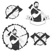 Set of stylish logos lumberjack — Stock Vector