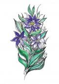Watercolor beautiful flowers with leaves — Vetor de Stock