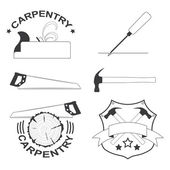 Set of carpentry tools and logos — Stock Vector
