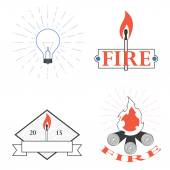 Logos depicting fire and light — Stock Vector
