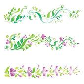 Aquarela lindas flores com folhas — Vetor de Stock