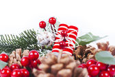 Christmas composition with pine and white background — Stock Photo