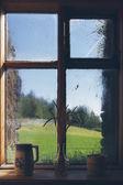 Wooden rustic window — Stock Photo