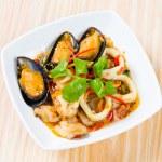 Thai style spicy stir fried seafood — Stock Photo #58927753