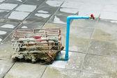 Steel cage on water meter — Zdjęcie stockowe