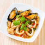 Thai style spicy stir fried seafood — Stock Photo #59182881