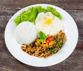 Rice topped with stir fried minced pork and basil — 图库照片