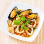Thai style spicy stir fried seafood — Stock Photo #59255867