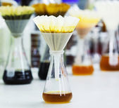 Filter samples with fluted filter paper — Stock Photo