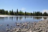 小石の多い海岸からの北の川. — ストック写真