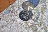 Compass, map.  — Stock fotografie