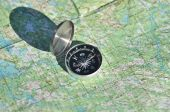 Compass, map, outdoor.  — Stock Photo
