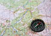 Satellites adventure - map and compass.  — Stock Photo