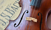 German ancient violin and notes. — Stock Photo