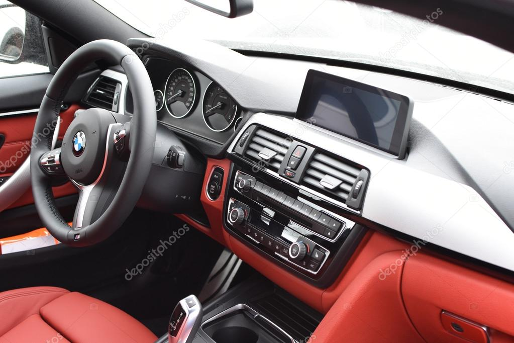 deggendorf germany 23 april 2016 red leather interior of a 2016 bmw 4 gran coupe during the. Black Bedroom Furniture Sets. Home Design Ideas