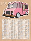 2015 calendar with ice cream truck — Vettoriale Stock