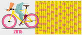 2015 calendar with fixed gear bicycle — Stock Vector