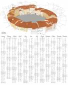 2015 calendar with Oval City Square in Lucca, Italy — Vector de stock