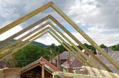 Houten dakconstructie — Stockfoto