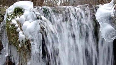 Waterfall in the National Park Slovak Karst, in the village named Haj in winter — Stock Video