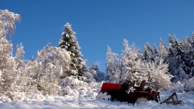 Forest covered with snow and tractor — Stock Video