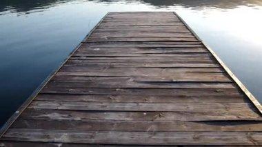 Walking on the pier lake — Stock Video